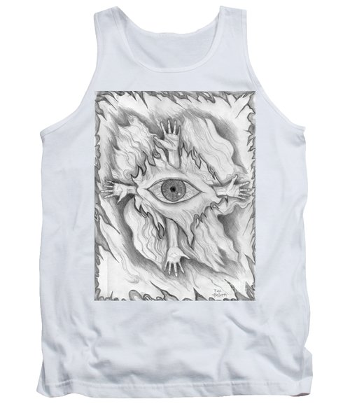 Tank Top featuring the drawing Dimension 4 by Roz Abellera Art