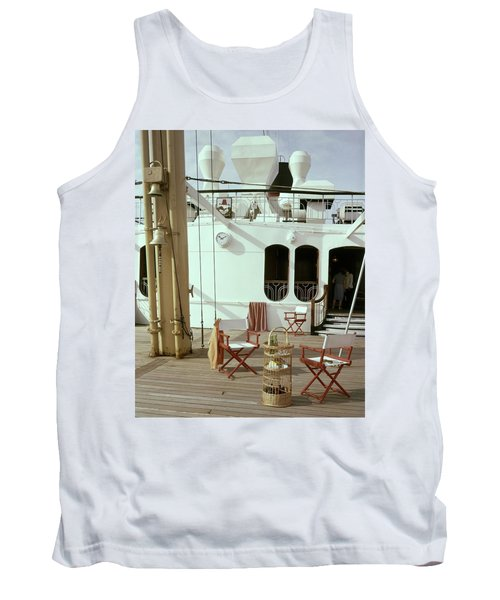 Directors Chairs In Front Of The Ship The Queen Tank Top