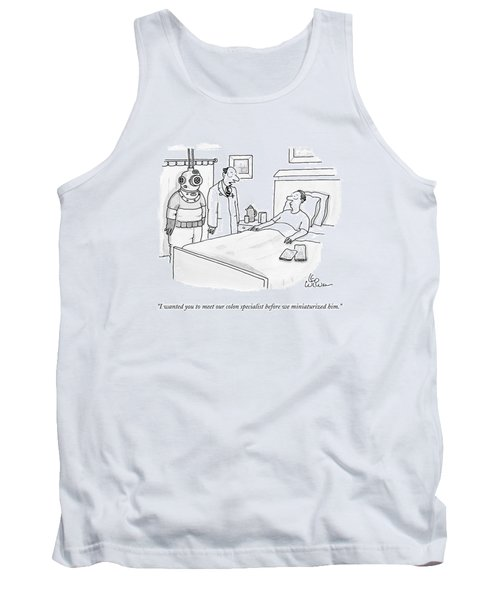 Doctor Speaks To Patient. A Scuba Diver Stands Tank Top