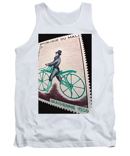 Tank Top featuring the photograph Draisienne 1809 Vintage Postage Stamp Print by Andy Prendy