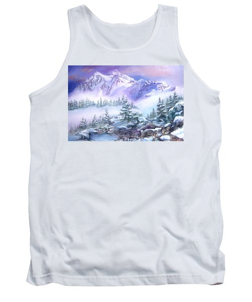 Tank Top featuring the painting Dressed In White Mount Shuksan by Sherry Shipley