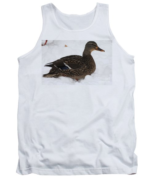 Duck Playing In The Snow Tank Top by John Telfer