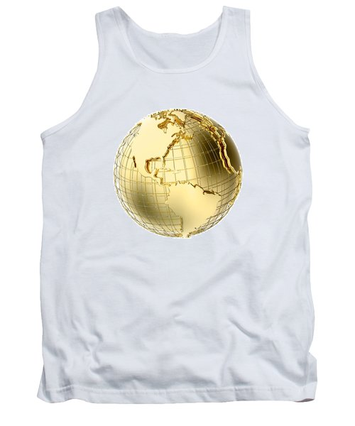 Earth In Gold Metal Isolated On White Tank Top by Johan Swanepoel