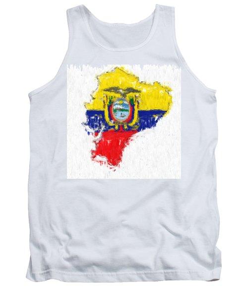 Ecuador Painted Flag Map Tank Top by Antony McAulay