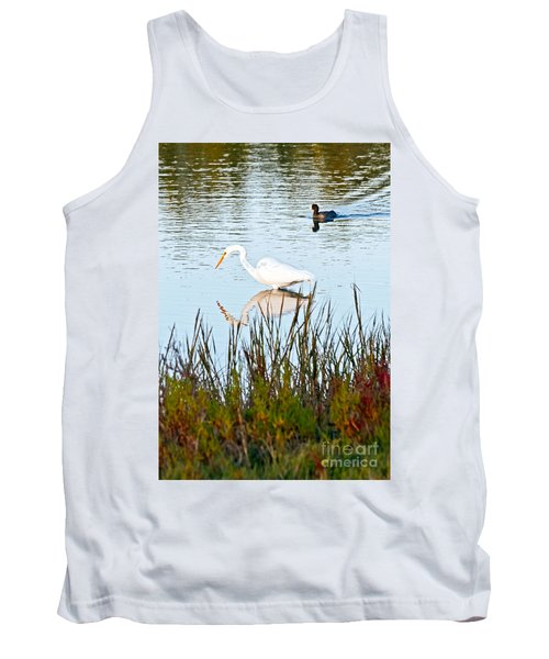 Tank Top featuring the photograph Egret And Coot In Autumn by Kate Brown