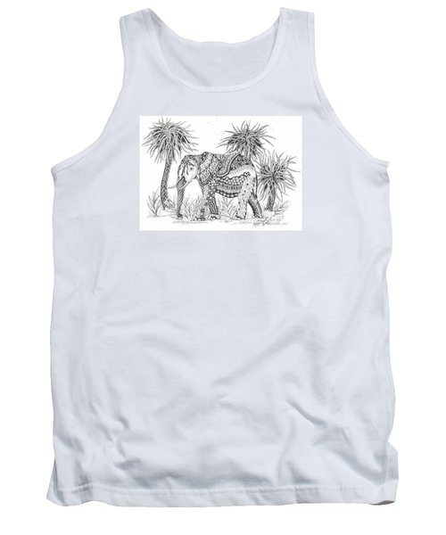 Elephant And Trees Zentangled Tank Top