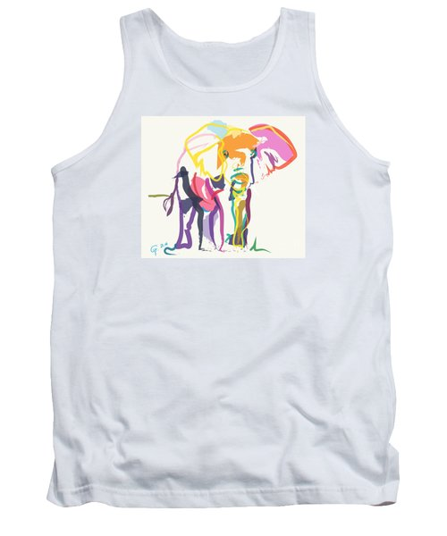 Tank Top featuring the painting Elephant In Color Ecru by Go Van Kampen