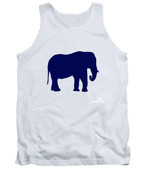 Elephant In Navy And White Tank Top