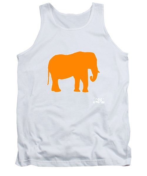 Elephant In Orange And White Tank Top