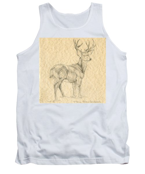 Tank Top featuring the drawing Elk by Mary Ellen Anderson