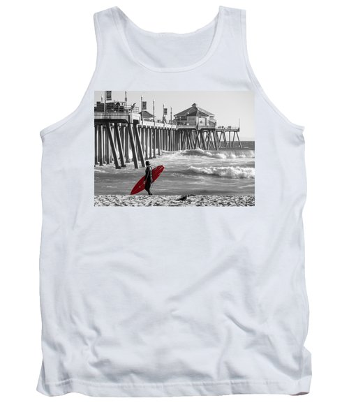 Existential Surfing At Huntington Beach Selective Color Tank Top