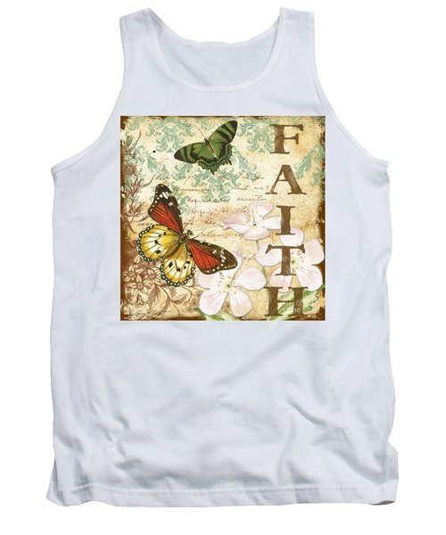 Faith And Butterflies Tank Top by Jean Plout