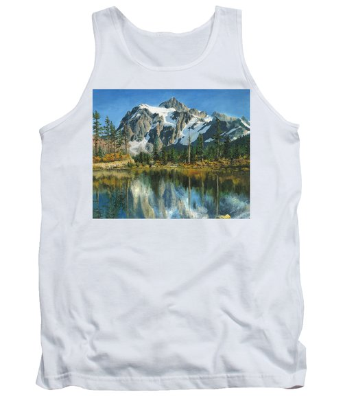 Tank Top featuring the painting Fall Reflections - Cascade Mountains by Mary Ellen Anderson