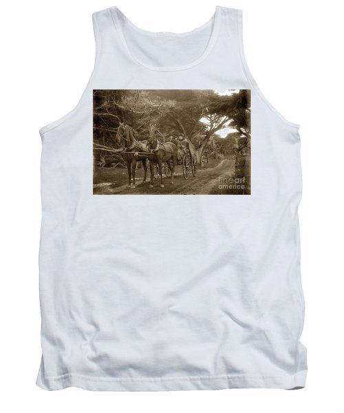 Family Out Carriage Ride On The 17 Mile Drive In Pebble Beach Circa 1895 Tank Top