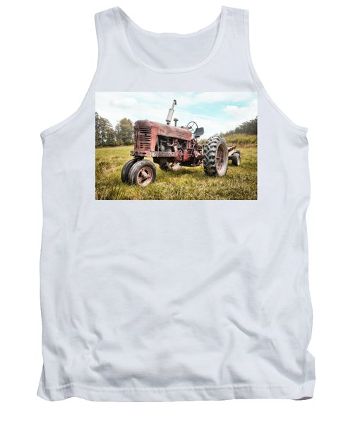 Tank Top featuring the photograph Farmall Tractor Dream - Farm Machinary - Industrial Decor by Gary Heller