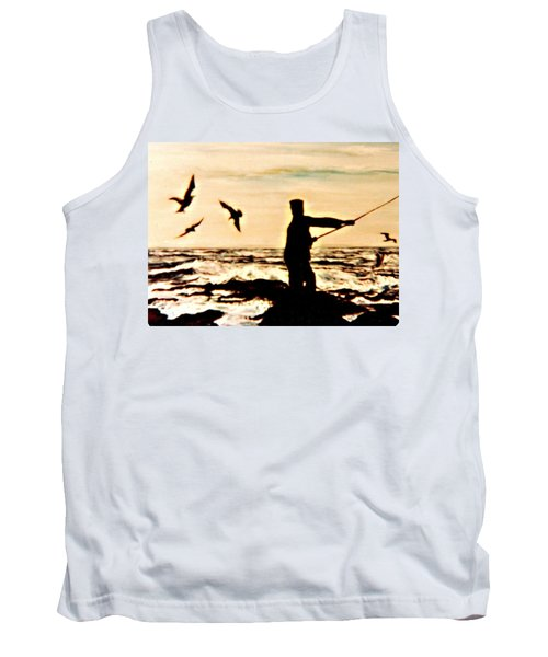 Tank Top featuring the mixed media Father Fisherman by Desline Vitto