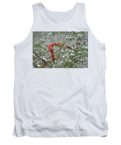 Tank Top featuring the photograph Feeding Cardinals by Geraldine DeBoer