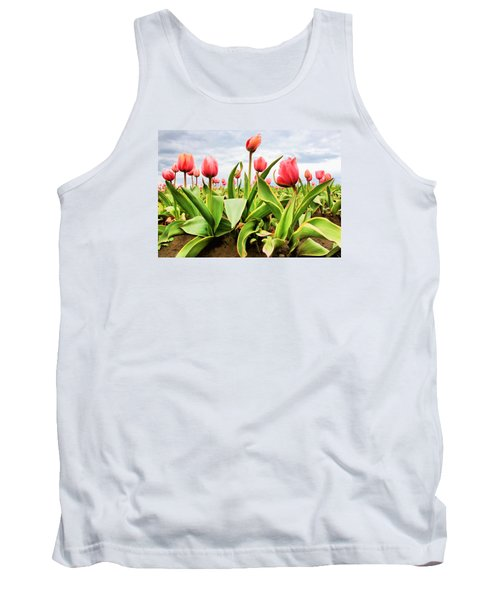 Tank Top featuring the photograph Field Of Pink Tulips by Athena Mckinzie