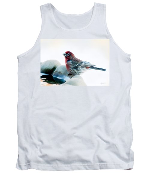 Tank Top featuring the digital art Finch by Ann Lauwers