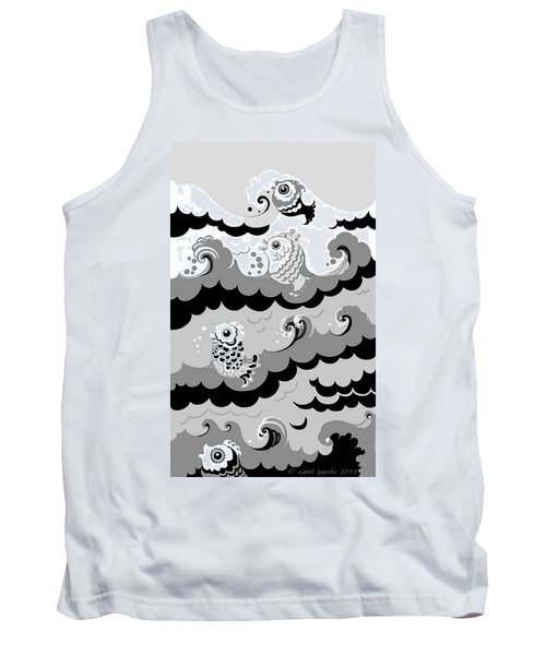 Tank Top featuring the digital art Fish Waves by Carol Jacobs