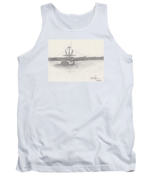 Tank Top featuring the drawing Fishing Boat by David Jackson