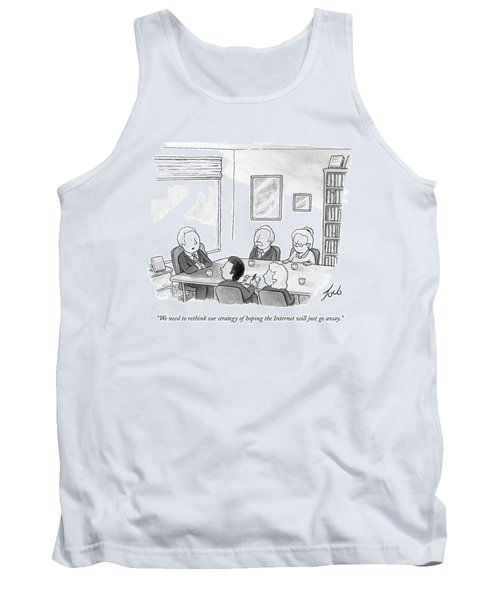 Five People Sit Around A Conference Table Tank Top