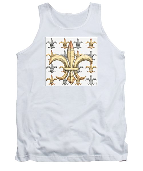 Fleur De Lys Silver And Gold Tank Top by Barbara Chichester