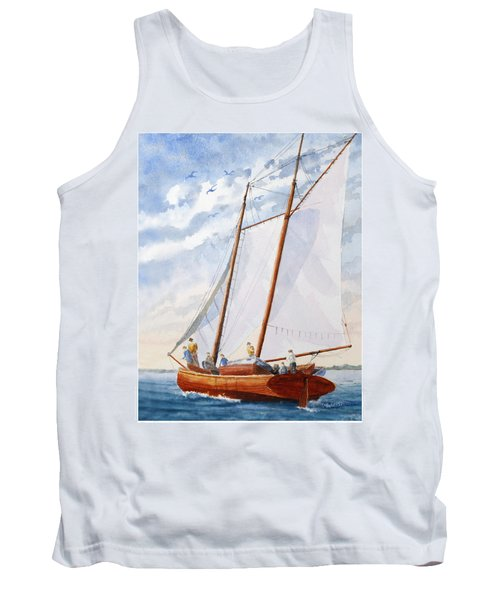 Tank Top featuring the painting Florida Catboat At Sea by Roger Rockefeller