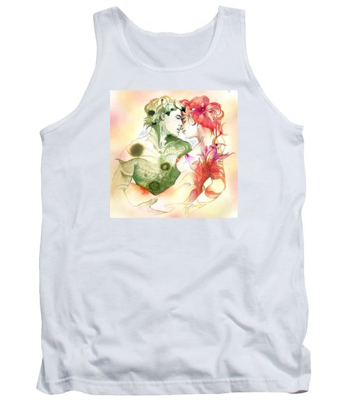 Tank Top featuring the painting Flower And Leaf by Anna Ewa Miarczynska