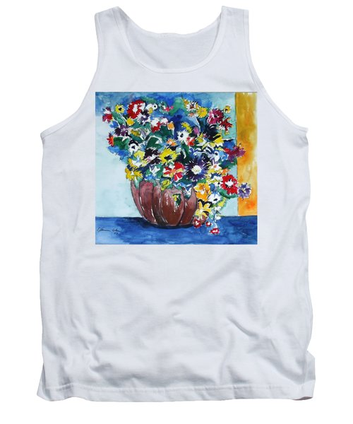 Tank Top featuring the painting Flower Jubilee by Esther Newman-Cohen