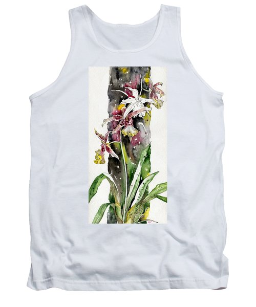 Tank Top featuring the painting Flower Orchid 03 Elena Yakubovich by Elena Yakubovich