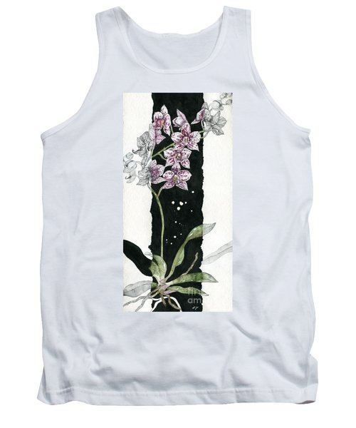 Tank Top featuring the painting Flower Orchid 04 Elena Yakubovich by Elena Yakubovich