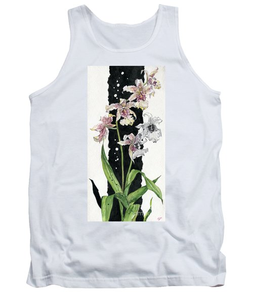 Tank Top featuring the painting Flower Orchid 06 Elena Yakubovich by Elena Yakubovich