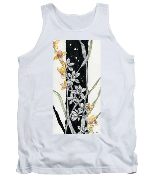 Tank Top featuring the painting Flower Orchid 07 Elena Yakubovich by Elena Yakubovich
