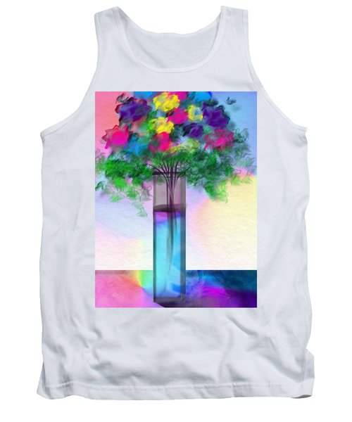 Tank Top featuring the digital art Flowers In A Glass Vase by Frank Bright