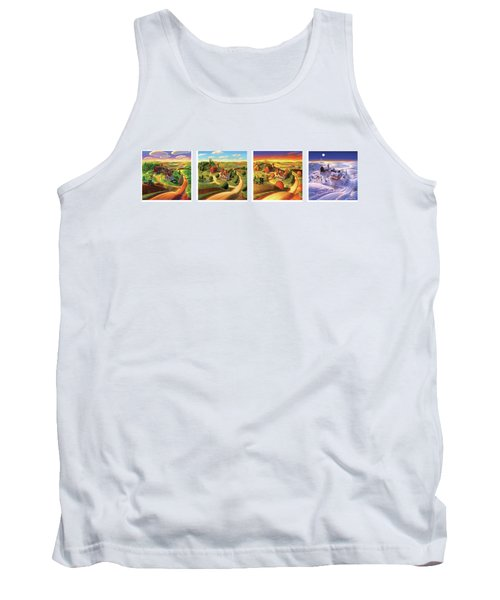 Tank Top featuring the painting Four Seasons On The Farm by Robin Moline