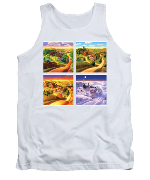 Four Seasons On The Farm Squared Tank Top by Robin Moline