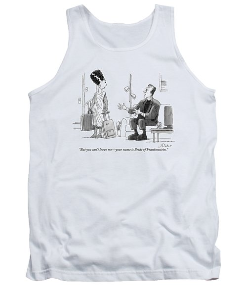Frankenstein Sits On A Couch Motioning Tank Top