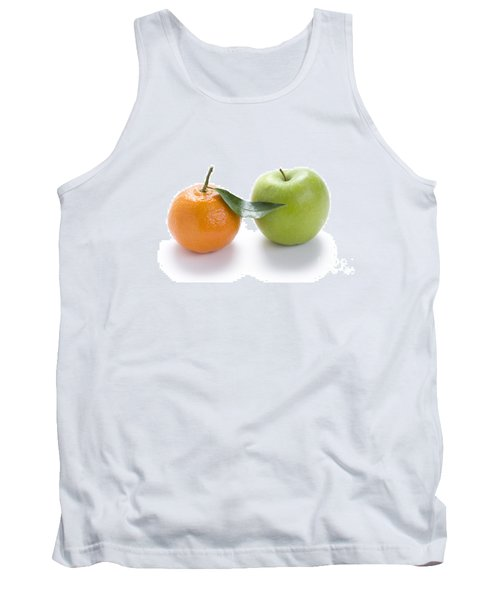 Tank Top featuring the photograph Fresh Apple And Orange On White by Lee Avison