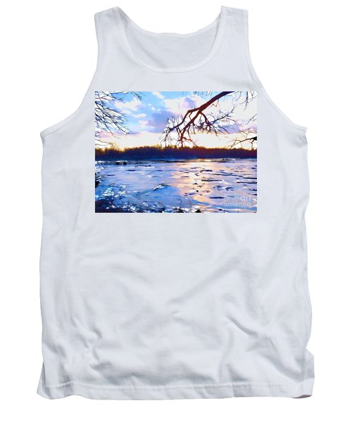 Frozen Delaware River Sunset Tank Top
