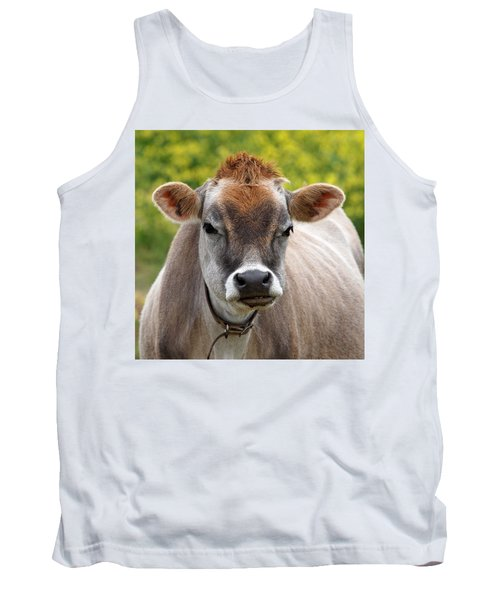 Funny Jersey Cow -square Tank Top by Gill Billington