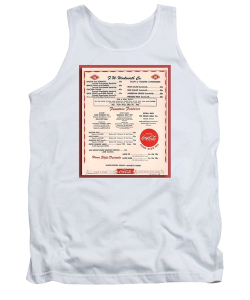 Fw Woolworth Lunch Counter Menu Tank Top by Thomas Woolworth