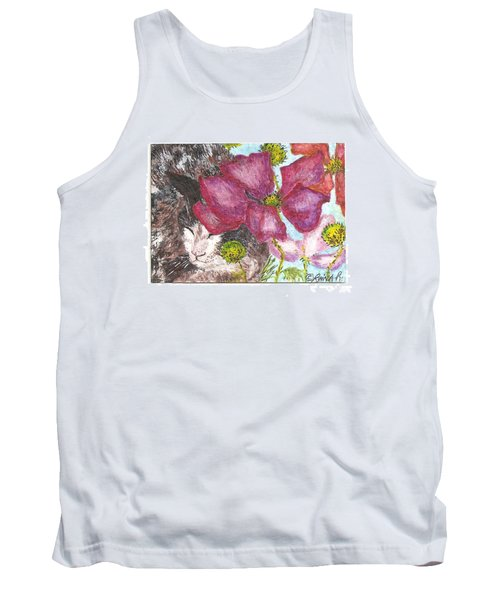 Tank Top featuring the painting Garden Nap by Reina Resto