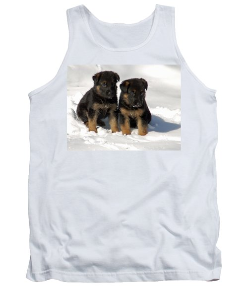 Tank Top featuring the photograph German Shepherd Pups by Aimee L Maher Photography and Art Visit ALMGallerydotcom