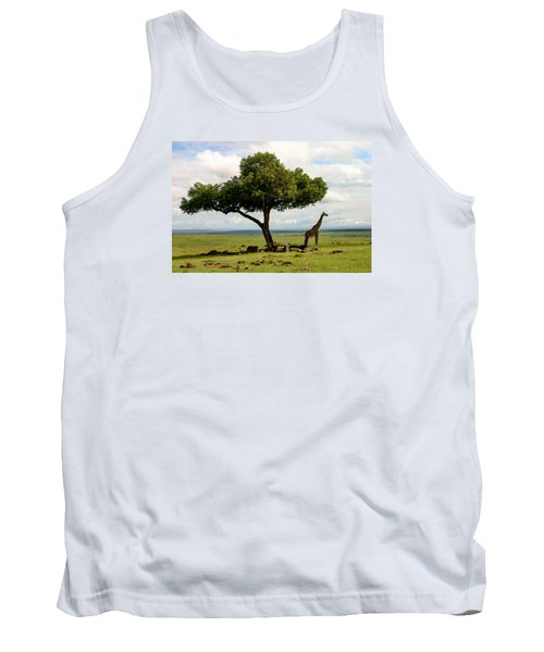 Giraffe And The Lonely Tree  Tank Top by Menachem Ganon