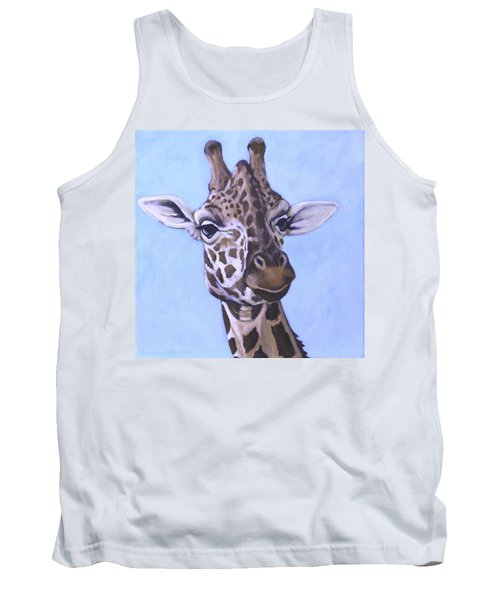 Tank Top featuring the painting Giraffe Eye To Eye by Penny Birch-Williams