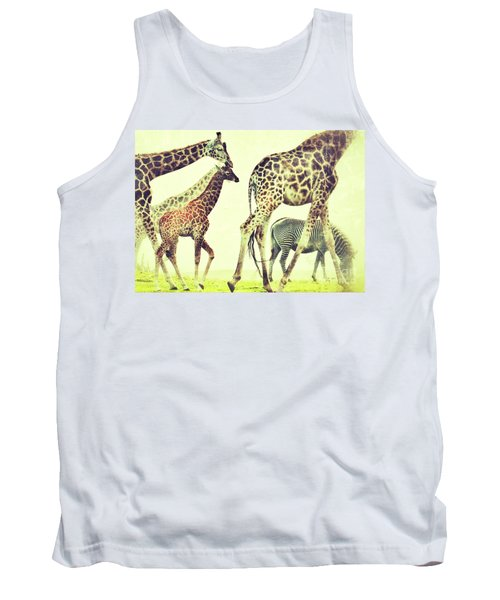 Giraffes And A Zebra In The Mist Tank Top by Nick  Biemans