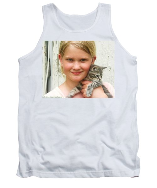Girl With Kitten Tank Top