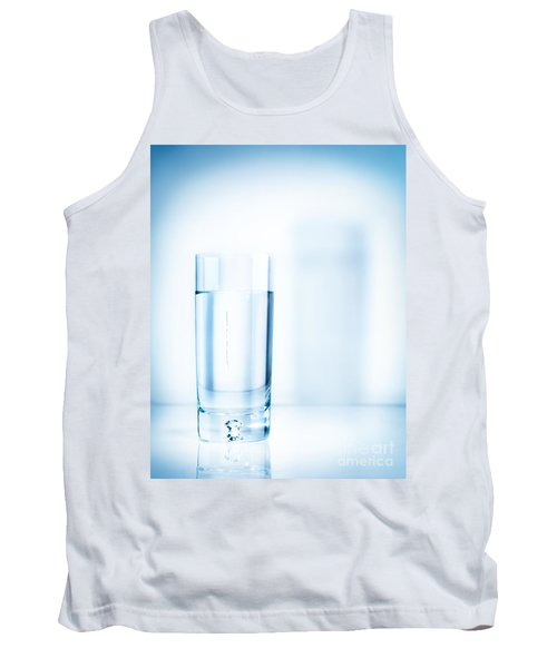 Glass Of Water On Light Blue Background Tank Top