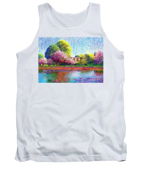 Tank Top featuring the painting Glastonbury Abbey Lily Pool by Jane Small